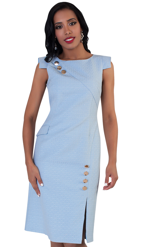 Chancelle-BL 9492 ( 1pc Womens Dress Embellished With Buttons And Cap Sleeves )
