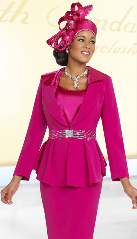 Fifth Sunday 52838-FU ( 3pc PeachSkin Ladies Sunday Skirt Suit )