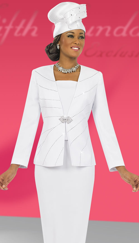 Fifth Sunday 52829-WH-CO ( 3pc PeachSkin Ladies Sunday Skirt Suit )