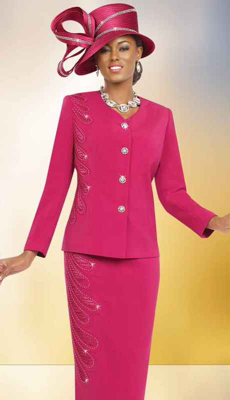 Fifth Sunday 52808-FU ( 3pc Peach Skin Skirt Suit For Church )