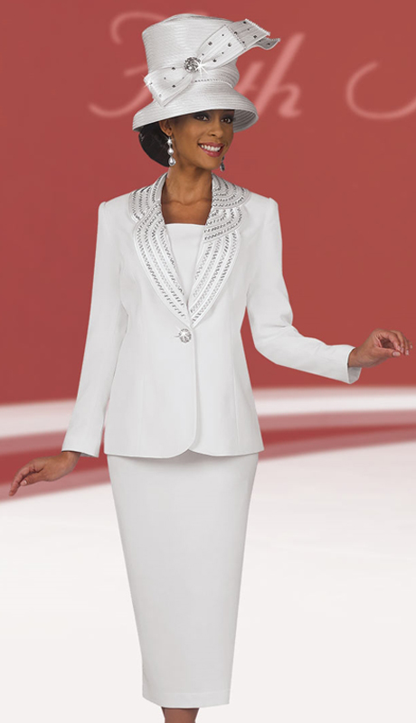 Fifth Sunday 52792-WH ( 3pc PeachSkin Ladies Suit For Sunday )
