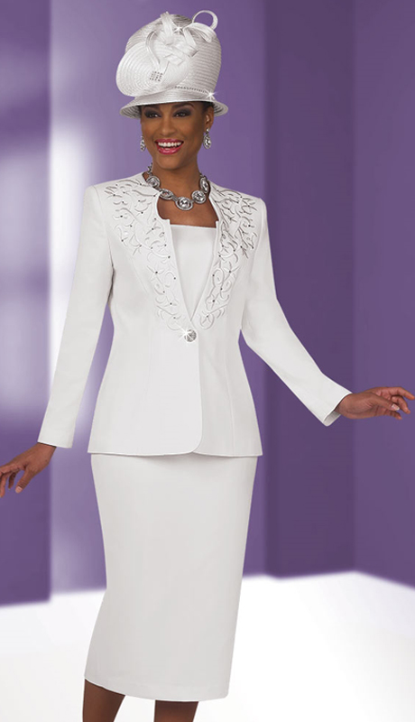 Fifth Sunday 52797-WH ( 3pc PeachSkin Ladies Suit For Sunday )
