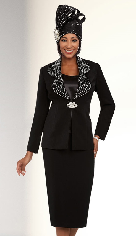 Fifth Sunday 52875-BK ( 3pc PeachSkin Sunday Skirt Suit )