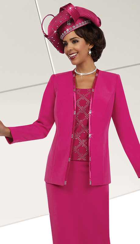 Fifth Sunday 52864-FU ( 3pc PeachSkin Ladies Church Skirt Suit )