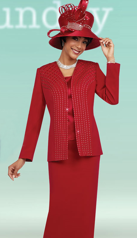 Fifth Sunday 52861-RE ( 3pc PeachSkin First Ladies Skirt Suit )