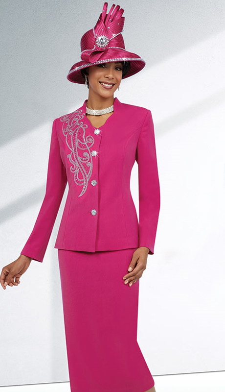 Fifth Sunday 52857-FU ( 3pc PeachSkin Ladies Sunday Skirt Suit )