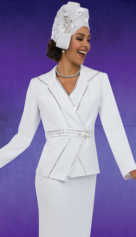 Fifth Sunday 52856-WH ( 3pc PeachSkin Ladies Suit For Sunday )