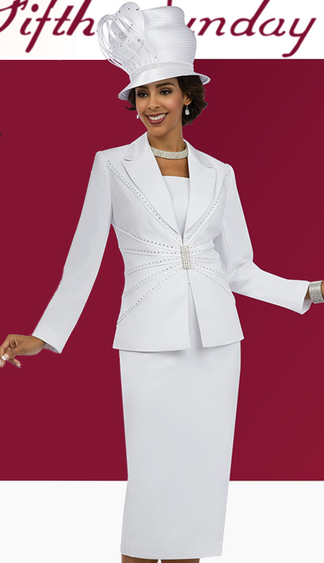Fifth Sunday 52853-WH ( 3pc PeachSkin Ladies Sunday Skirt Suit )