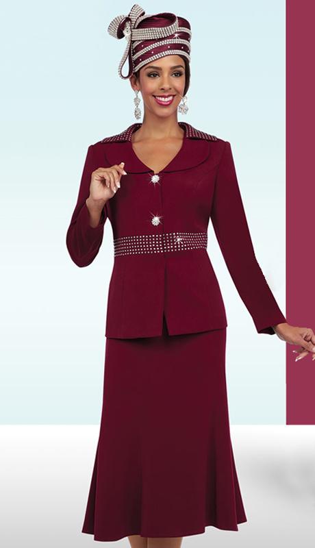Fifth Sunday 52850-WI ( 3pc PeachSkin Ladies Sunday Skirt Suit )