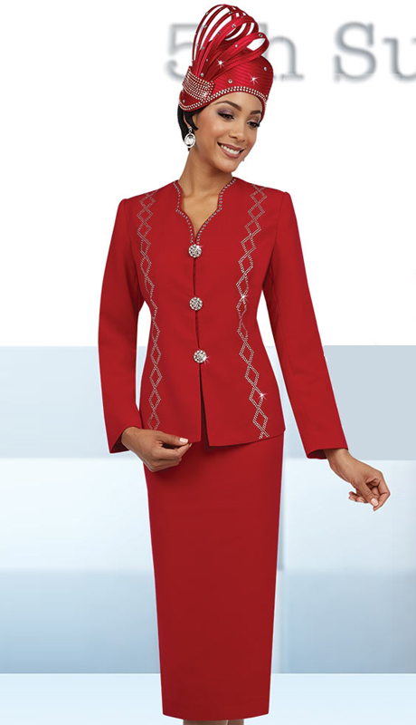 Fifth Sunday 52849-RE ( 3pc PeachSkin First Ladies Suit )