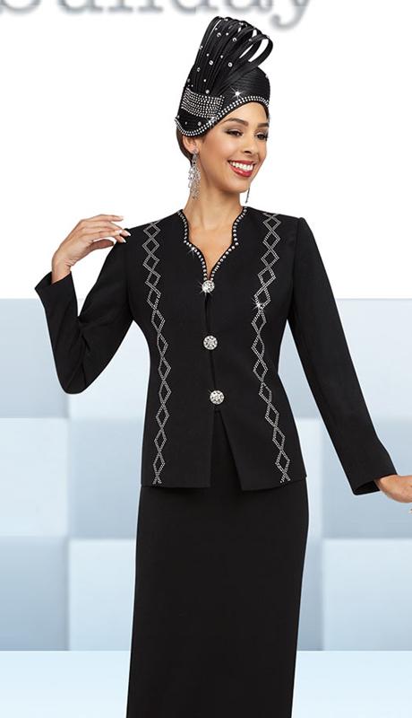 Fifth Sunday 52849-BK ( 3pc PeachSkin First Ladies Suit )