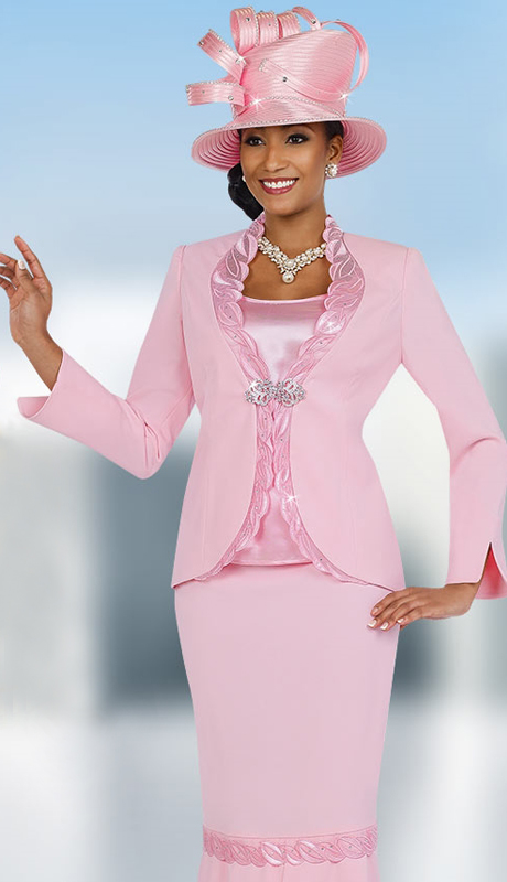Fifth Sunday 52847-PI ( 3pc PeachSkin First Ladies Suit )