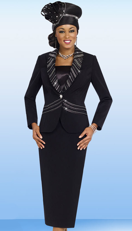 Fifth Sunday 52828-BLK ( 2pc PeachSkin Striped Rhinestone And Ribbon Trim Jacket And Skirt Ladies Sunday Suit )