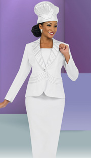 Fifth Sunday 52828-WH ( 2pc PeachSkin Striped Rhinestone And Ribbon Trim Jacket And Skirt Ladies Sunday Suit )