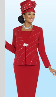 Fifth Sunday 52829-RE ( 2pc PeachSkin Rhinestone Embellished Jacket And Skirt Church Suit )