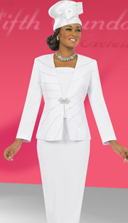 Fifth Sunday 52829-WH ( 2pc PeachSkin Rhinestone Embellished Jacket And Skirt Church Suit )