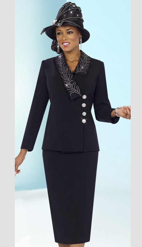 Fifth Sunday 52832-BLK ( 2pc PeachSkin Asymetrical Collar Jacket With Embroidery Detail Womens Suit )