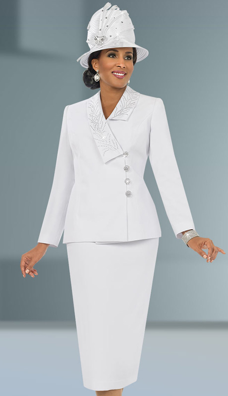 Fifth Sunday 52832-WH ( 2pc PeachSkin Asymetrical Collar Jacket With Embroidery Detail Womens Suit )