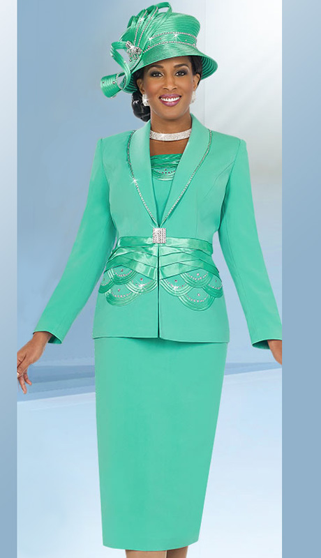 Fifth Sunday 52835-MI ( 2pc PeachSkin Braided Ribbon And Scallop Pattern Waiste Jacket And Skirt Church Suit )