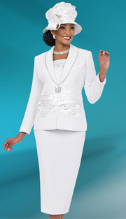 Fifth Sunday 52835-WH ( 2pc PeachSkin Braided Ribbon And Scallop Pattern Waiste Jacket And Skirt Church Suit )