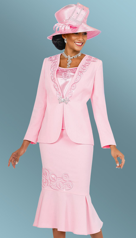 Fifth Sunday 52837-PK ( 3pc PeachSkin Embroidered  Jacket, Cami And Pleated Skirt Ladies Suit )