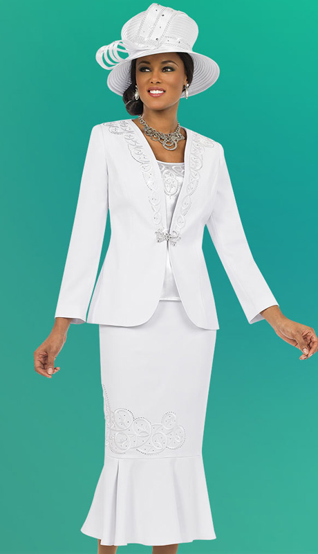 Fifth Sunday 52837-WH ( 3pc PeachSkin Embroidered  Jacket, Cami And Pleated Skirt Ladies Suit )