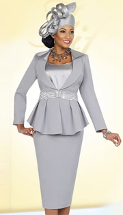 Fifth Sunday 52838-PLA ( 3pc PeachSkin Pleated Peplum Jacket, Camisole And Skirt Suit For Church )
