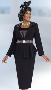 Fifth Sunday 52838-BLK ( 3pc PeachSkin Pleated Peplum Jacket, Camisole And Skirt Suit For Church )
