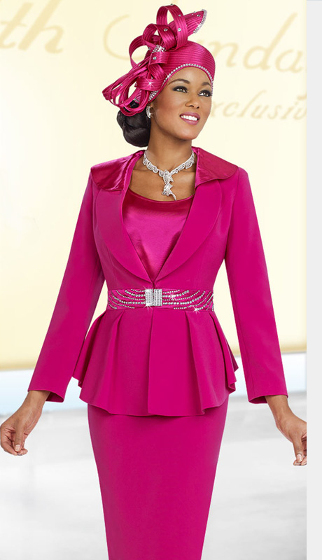 Fifth Sunday 52838-F ( 3pc PeachSkin Pleated Peplum Jacket, Camisole And Skirt Suit For Church )