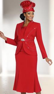 Fifth Sunday 52839-RE ( 3pc Braided Ribbon Waiste Rhinestone Embellished Jacket, Skirt And Camisole Womens Suit )
