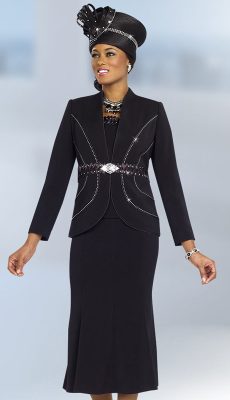 Fifth Sunday 52839-BLK ( 3pc Braided Ribbon Waiste Rhinestone Embellished Jacket, Skirt And Camisole Womens Suit )