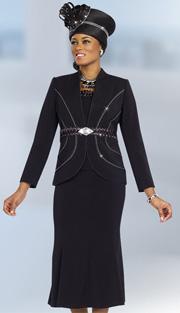 Fifth Sunday 52839-BLK ( 3pc Braided Ribbon Waiste Rhinestone Embellished Jacket, Skirt And Camisole Womens Suit )