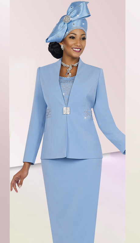 Fifth Sunday 52840-BLU ( 3pc PeachSkin Rhinestone Embellished Jacket, Camisole And Skirt Womens Church Suit )