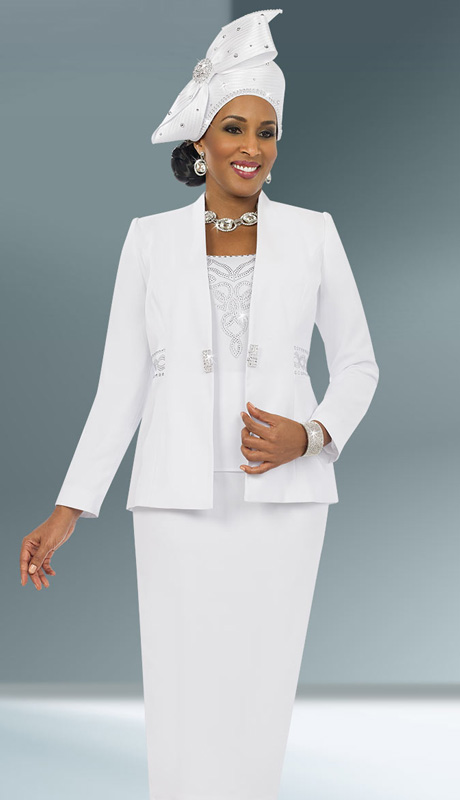 Fifth Sunday 52840-WH ( 3pc PeachSkin Rhinestone Embellished Jacket, Camisole And Skirt Womens Church Suit )