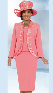 Fifth Sunday 52841-COR ( 3pc PeachSkin Pleated Trim And Scallop Detail Jacket, Cami And Skirt Womens Church Suit )