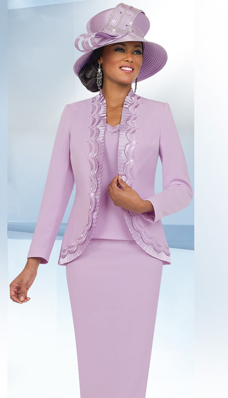 Fifth Sunday 52841-OR ( 3pc PeachSkin Pleated Trim And Scallop Detail Jacket, Cami And Skirt Womens Church Suit )