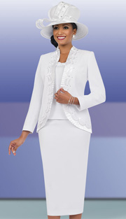 Fifth Sunday 52841-WH ( 3pc PeachSkin Pleated Trim And Scallop Detail Jacket, Cami And Skirt Womens Church Suit )