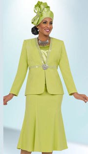 Fifth Sunday 52842-LI ( 3pc PeachSkin High-Waist With Rhinestone Trim Jacket, Cami And Skirt Ladies Suit For Church )
