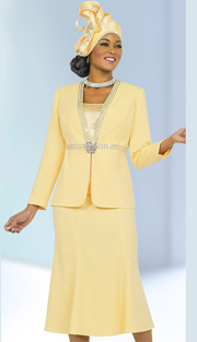 Fifth Sunday 52842-BA ( 3pc PeachSkin High-Waist With Rhinestone Trim Jacket, Cami And Skirt Ladies Suit For Church )
