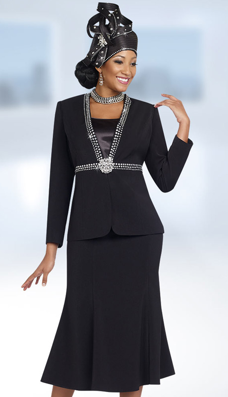Fifth Sunday 52842-BLK ( 3pc PeachSkin High-Waist With Rhinestone Trim Jacket, Cami And Skirt Ladies Suit For Church )