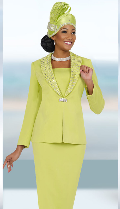 Fifth Sunday 52843-LI ( 2pc PeachSkin Unique Ribbon And Rhinestone Trim Jacket And Skirt Womens Church Suit )