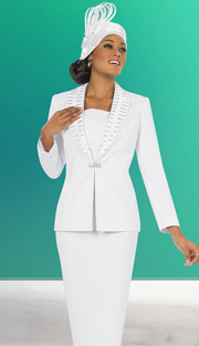 Fifth Sunday 52843-WH ( 2pc PeachSkin Unique Ribbon And Rhinestone Trim Jacket And Skirt Womens Church Suit )