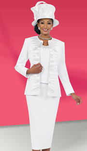 Fifth Sunday 52846-WH ( 3pc PeachSkin Leaf Pattern Embroidery Jacket, Camisole And Skirt Wpmens Church Suit )