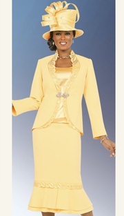 Fifth Sunday 52847-BA ( 3pc PeachSkin Leaf Pattern Detail On Jacket With Cami And Skirt Womens Suit For Church )