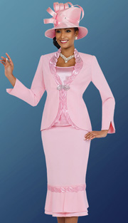 Fifth Sunday 52847-PK ( 3pc PeachSkin Leaf Pattern Detail On Jacket With Cami And Skirt Womens Suit For Church )