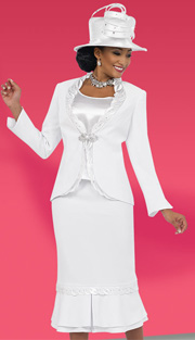 Fifth Sunday 52847-WH ( 3pc PeachSkin Leaf Pattern Detail On Jacket With Cami And Skirt Womens Suit For Church )