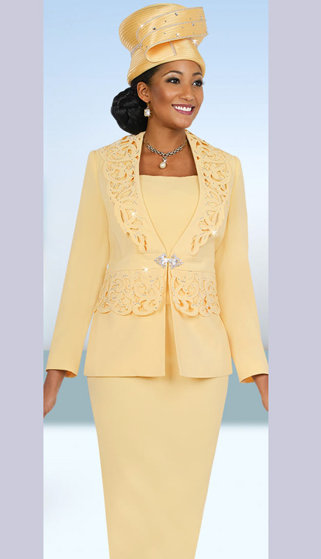 Fifth Sunday 52848-BA ( 2pc PeachSkin Cut-Out Detail Jacket, Cami And Skirt Womens Suit For Church )