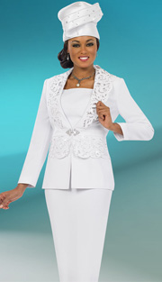 Fifth Sunday 52848-WH ( 2pc PeachSkin Cut-Out Detail Jacket, Cami And Skirt Womens Suit For Church )