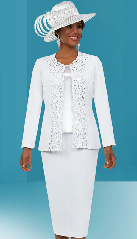 Fifth Sunday 52888-CO ( 3pc Ladies Skirt Suit With Intricate Cut-Out Design Jacket )