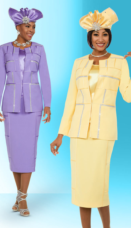 Fifth Sunday 52884 ( 3pc Skirt Suit With Embellished Block Pattern Design )